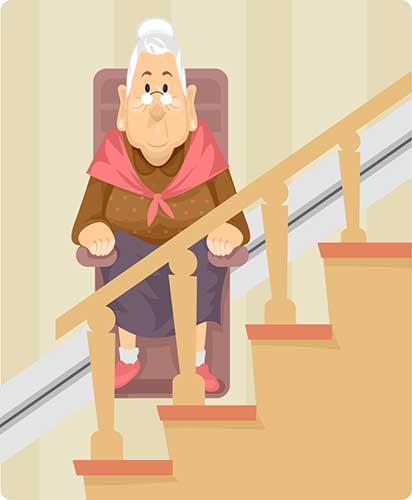 Illustration von Oma, die mit Treppenlift fährt